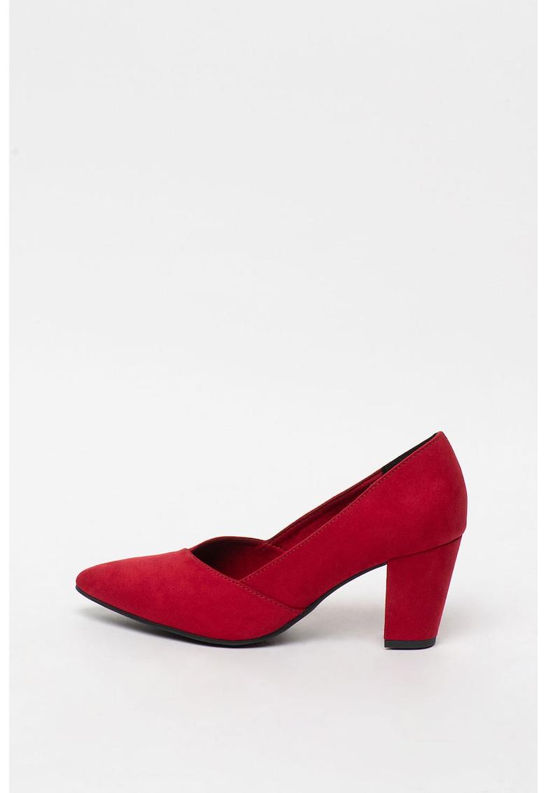 Pantofi de piele intoarsa sintetica cu toc masiv