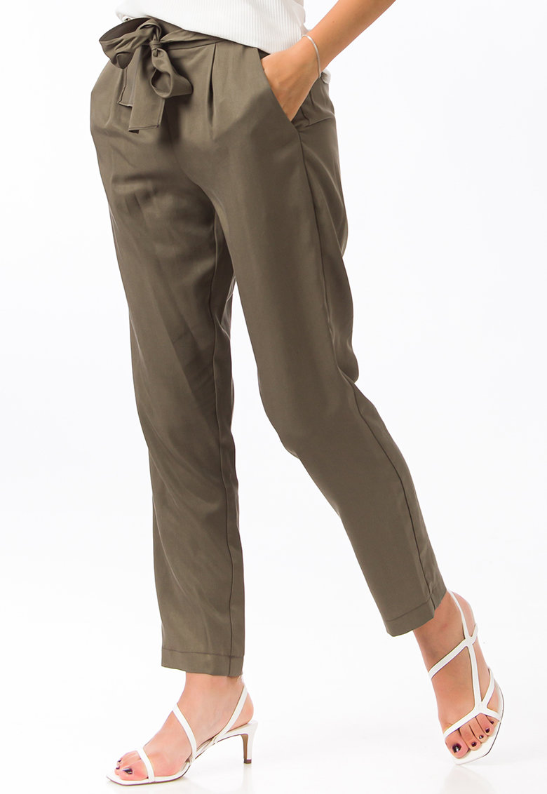 Pantaloni relaxed fit cu prindere cu cordon imagine