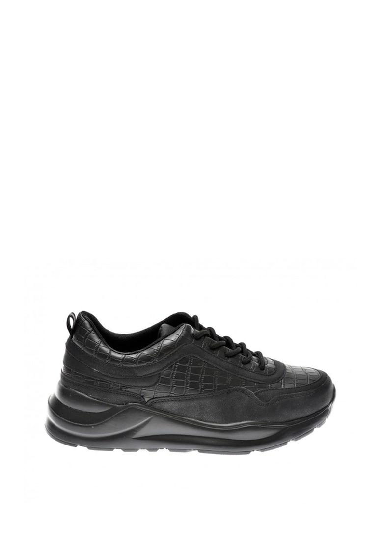 Pantofi sport din piele ecologica cu garnituri cu aspect de piele de crocodil Binx