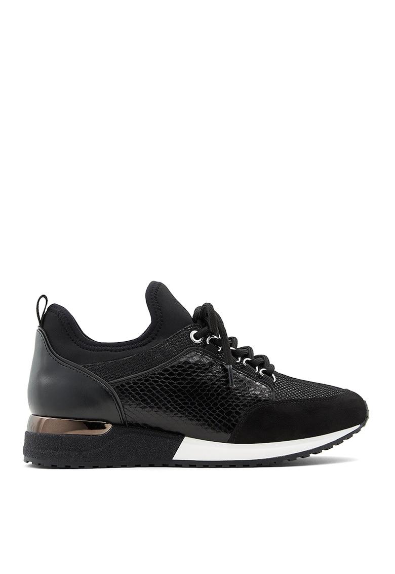 Pantofi sport de piele ecologica cu garnituri cu aspect de piele de sarpe Courtwood