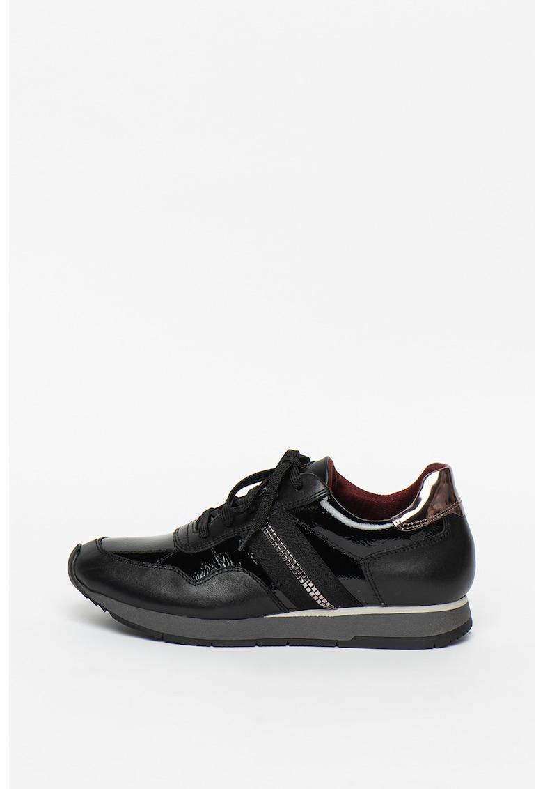 Pantofi sport din piele cu insertii lacuite