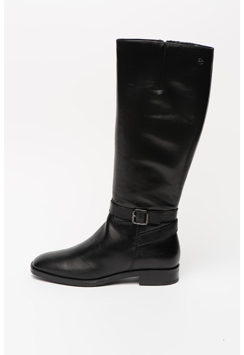 Cizme de piele - lungi pana la genunchi - cu banda cu catarama