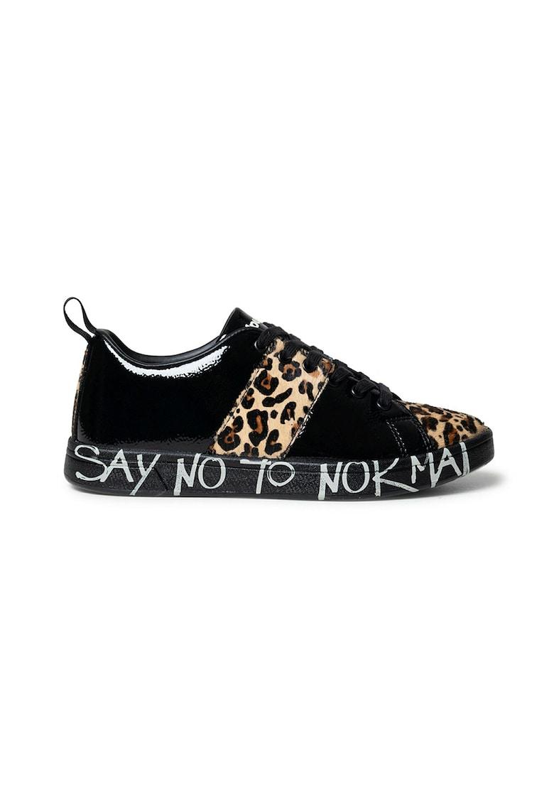 Pantofi sport lacuiti cu garnituri din piele cu par scurt