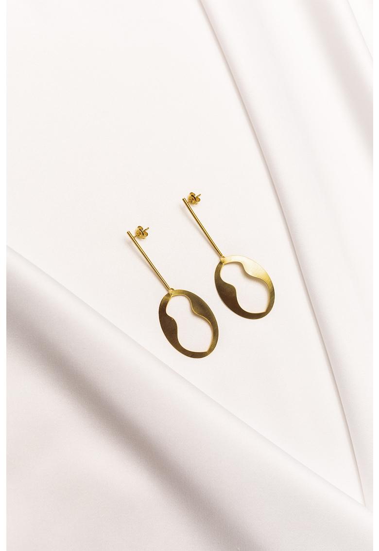 Cercei drop cu tija - de argint veritabil placat cu aur de 24K Cascara poza fashiondays