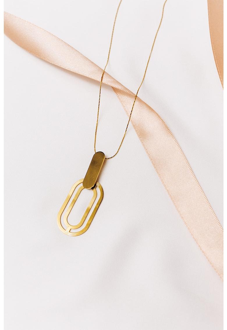 Colier de argint cu pandantiv geometric - placat cu aur de 24K Troia imagine fashiondays.ro