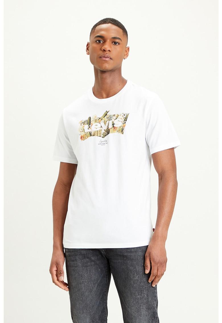 Tricou cu decolteu la baza gatului si imprimeu grafic Housemark imagine