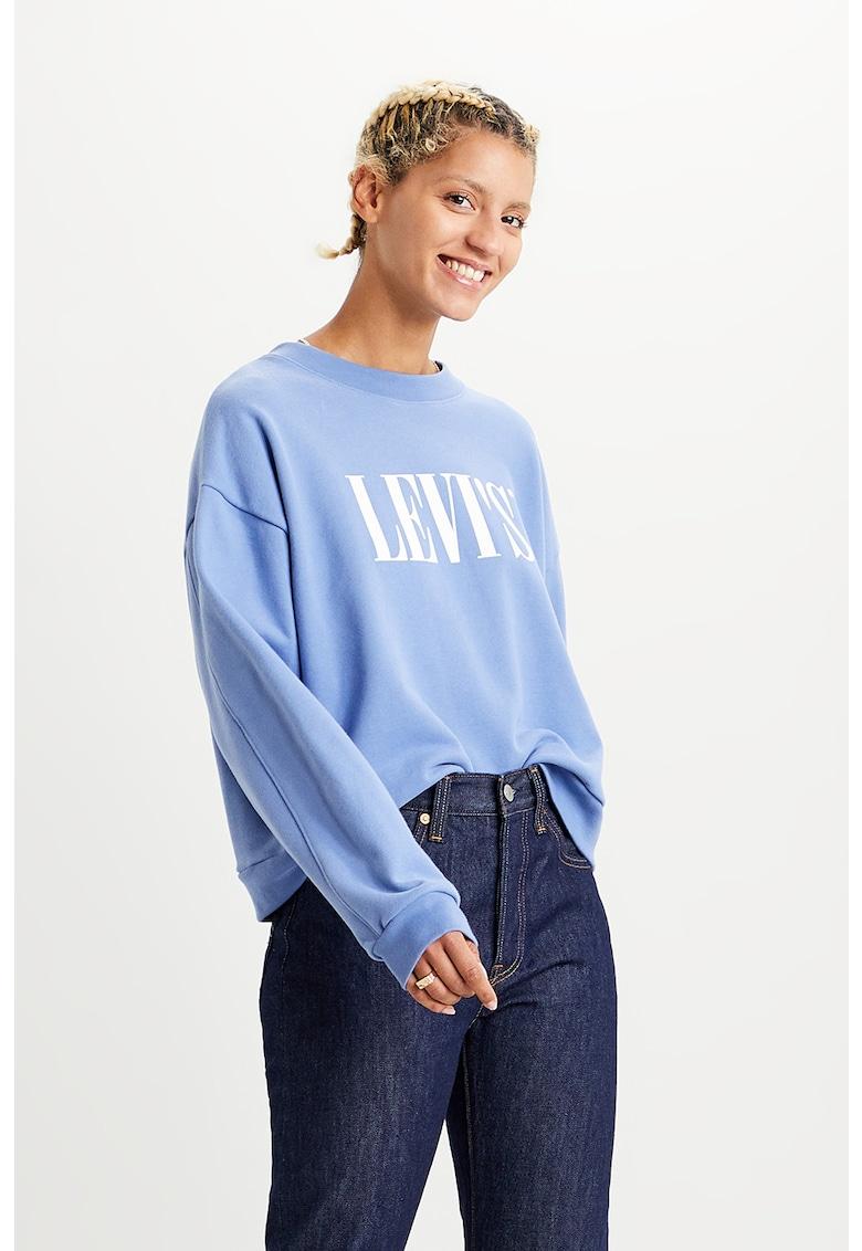 Bluza sport cu imprimeu logo si maneci cazute