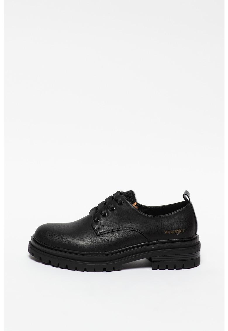 Pantofi derby de piele ecologica cu talpa aderenta Courtney Safari