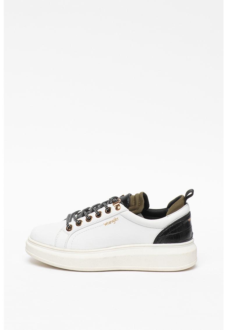 Pantofi sport flatform de piele si piele intoarsa 2