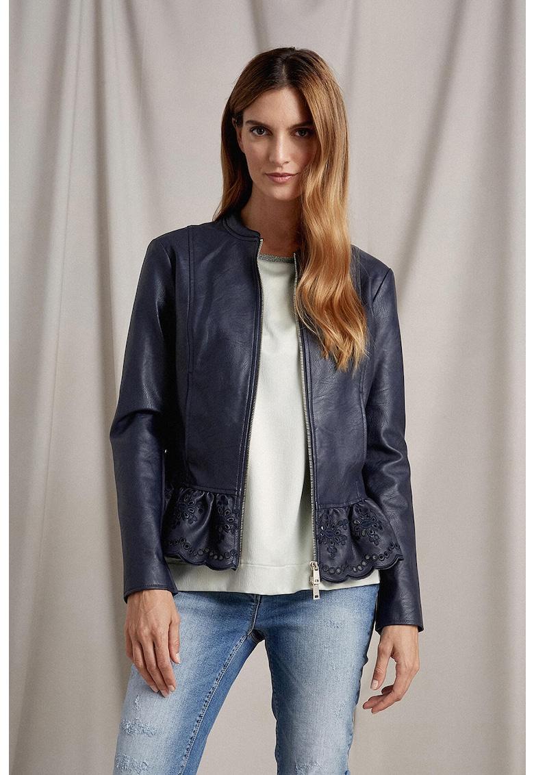 Jacheta de piele ecologica cu volan peplum
