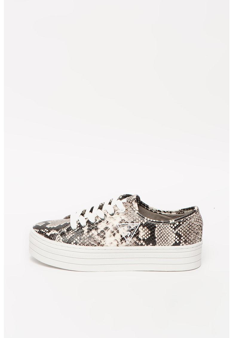 Pantofi sport din piele ecologica cu aspect de piele de reptila