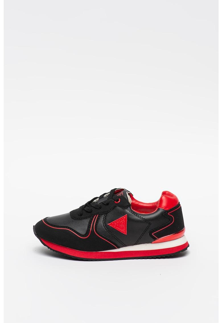 Pantofi sport de piele ecologica cu aplicatie logo imagine
