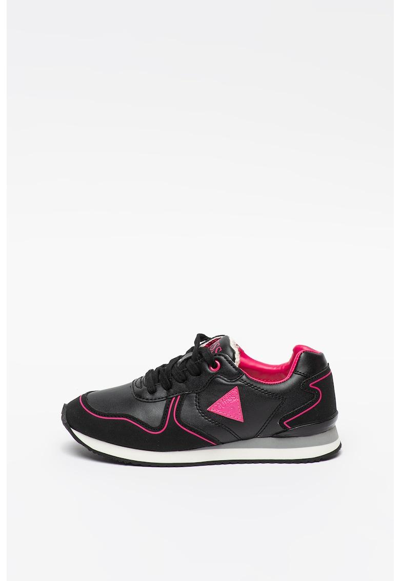 Pantofi sport de piele ecologica cu aplicatie logo contrastanta
