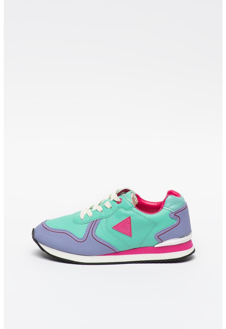 Pantofi sport de piele ecologica cu aplicatie logo contrastanta imagine