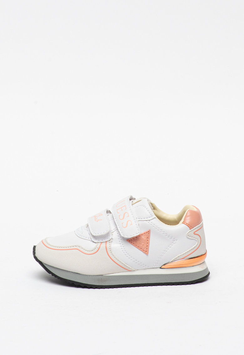 Pantofi sport cu garnituri de piele intoarsa ecologica si velcro