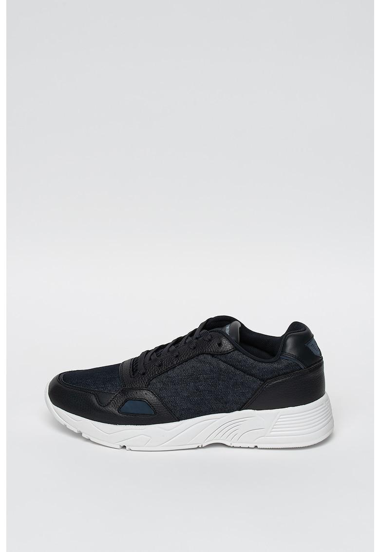 Pantofi sport cu insertii de piele si denim