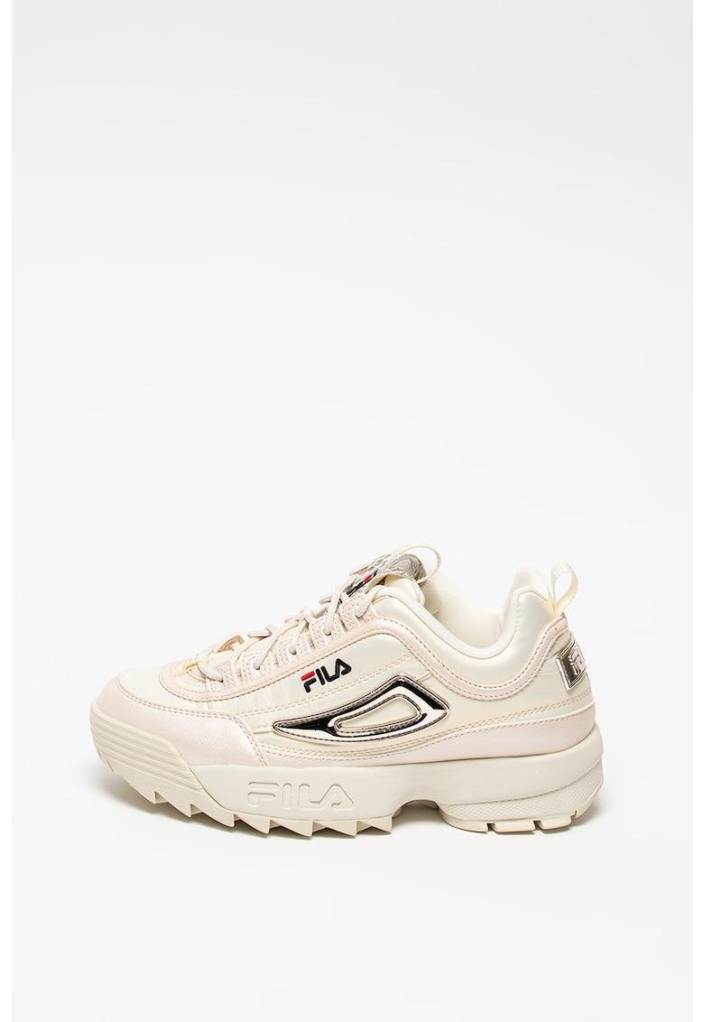Pantofi sport de piele ecologica si material textil cu talpa masiva Disruptor