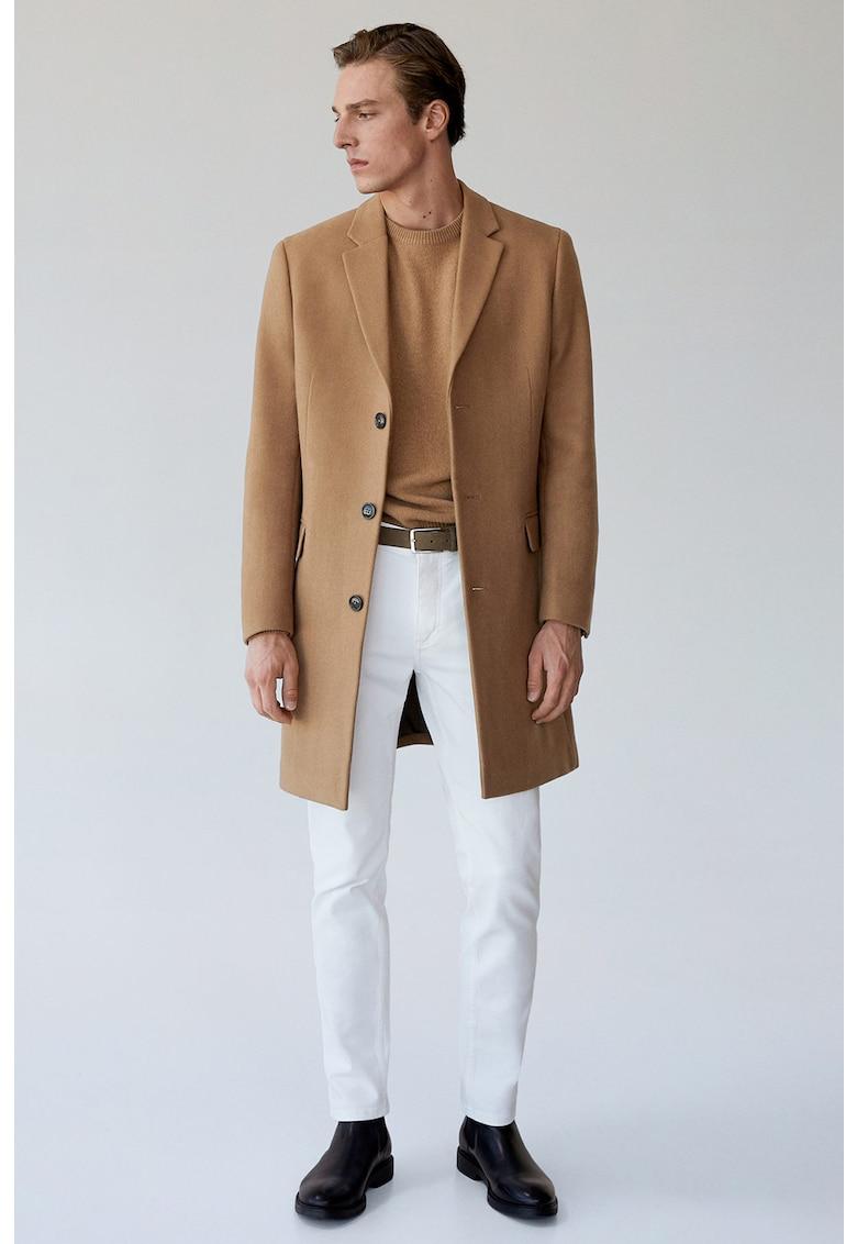 Palton tailored fit din amestec de lana cu revere decupate Arizona