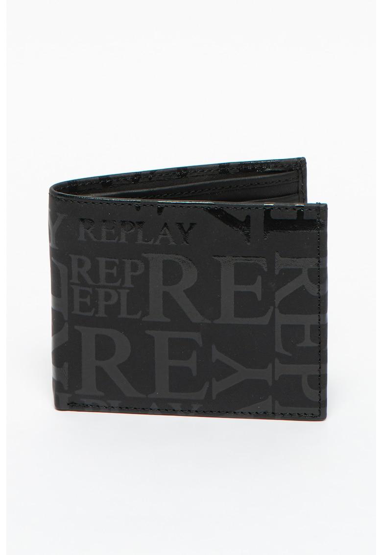 Portofel pliabil din piele cu model logo de la Replay