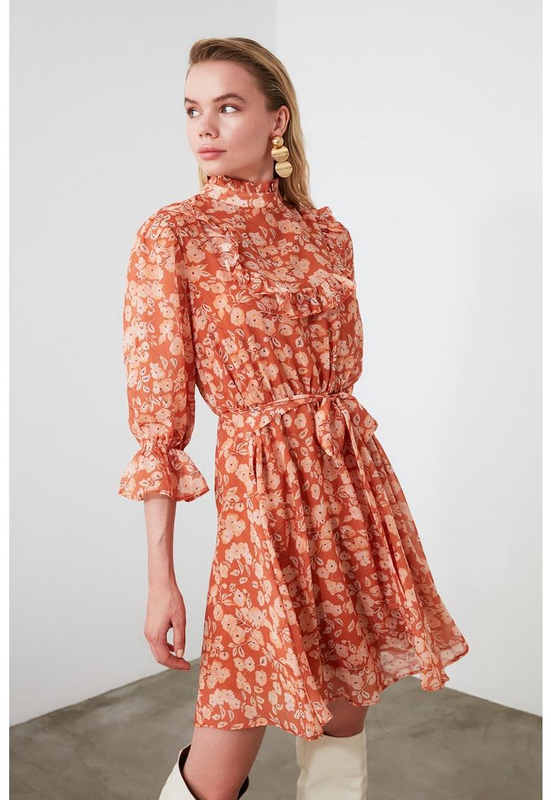Rochie cu imprimeu floral si cordon