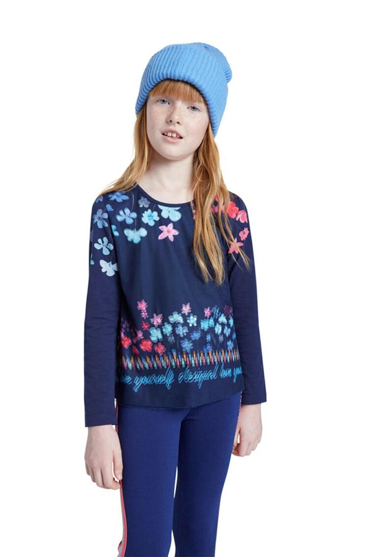 Bluza cu imprimeu text si floral fashiondays.ro