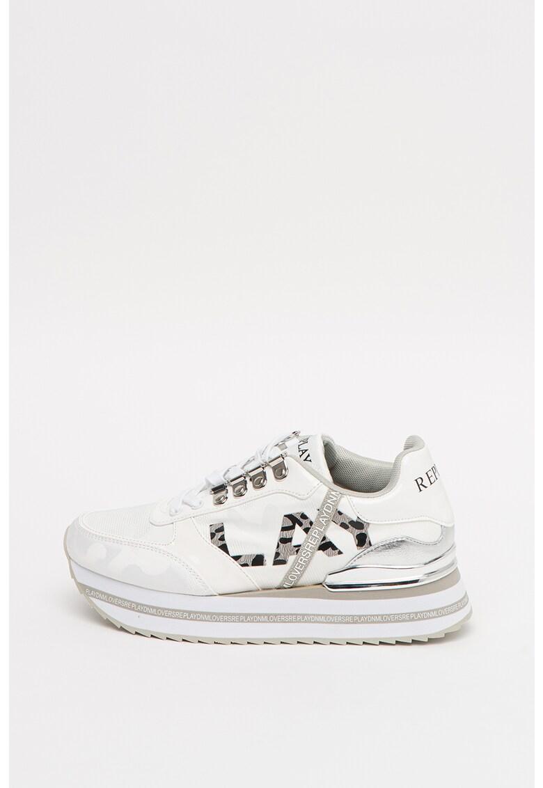 Pantofi sport cu insertii de piele ecologica