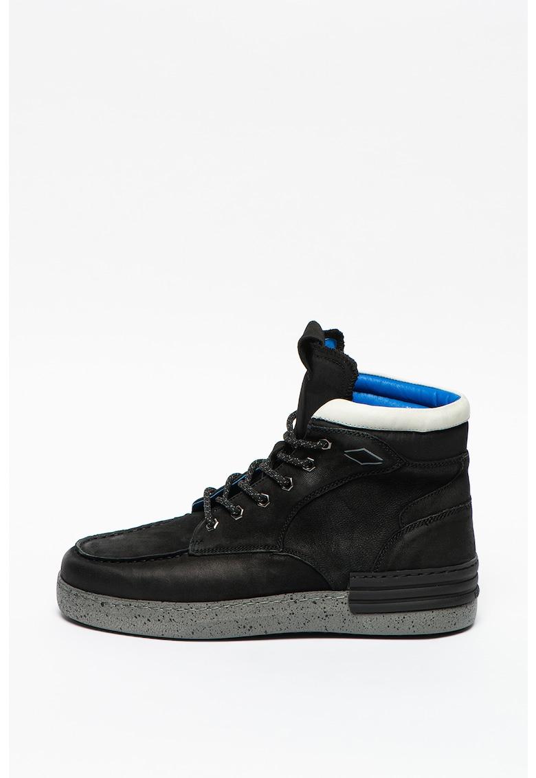 Pantofi sport mid-high de piele cu insertii din material textil