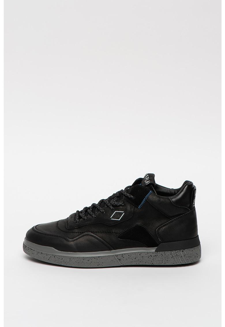 Pantofi sport de piele cu insertii din material textil