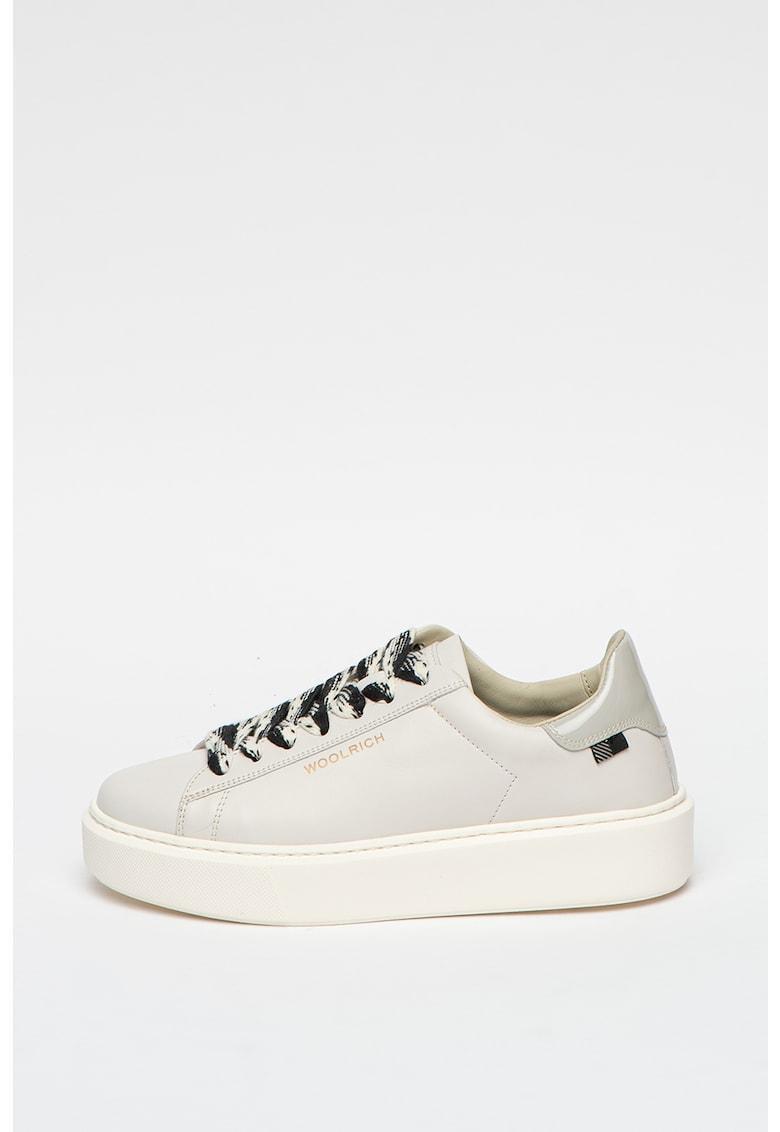 Pantofi sport de piele cu sireturi contrastante