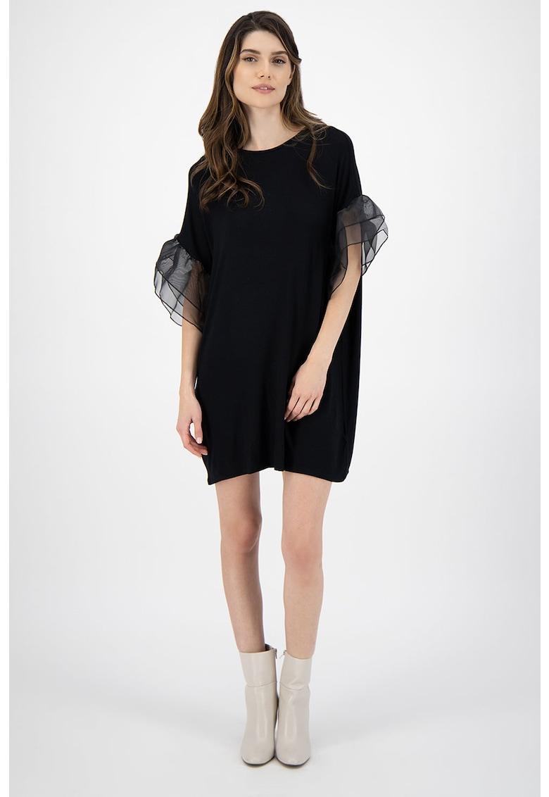 Rochie mini tip tricou - cu volane de organza pe maneci