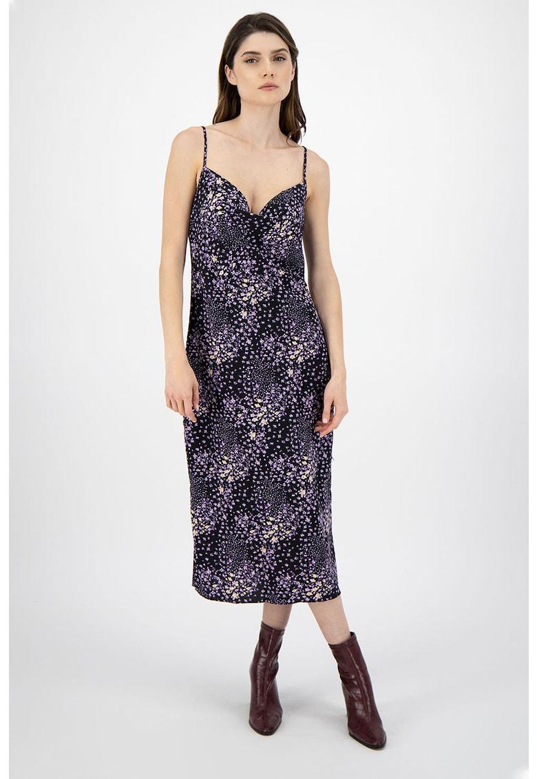 Rochie cu model floral si decolteu drapat