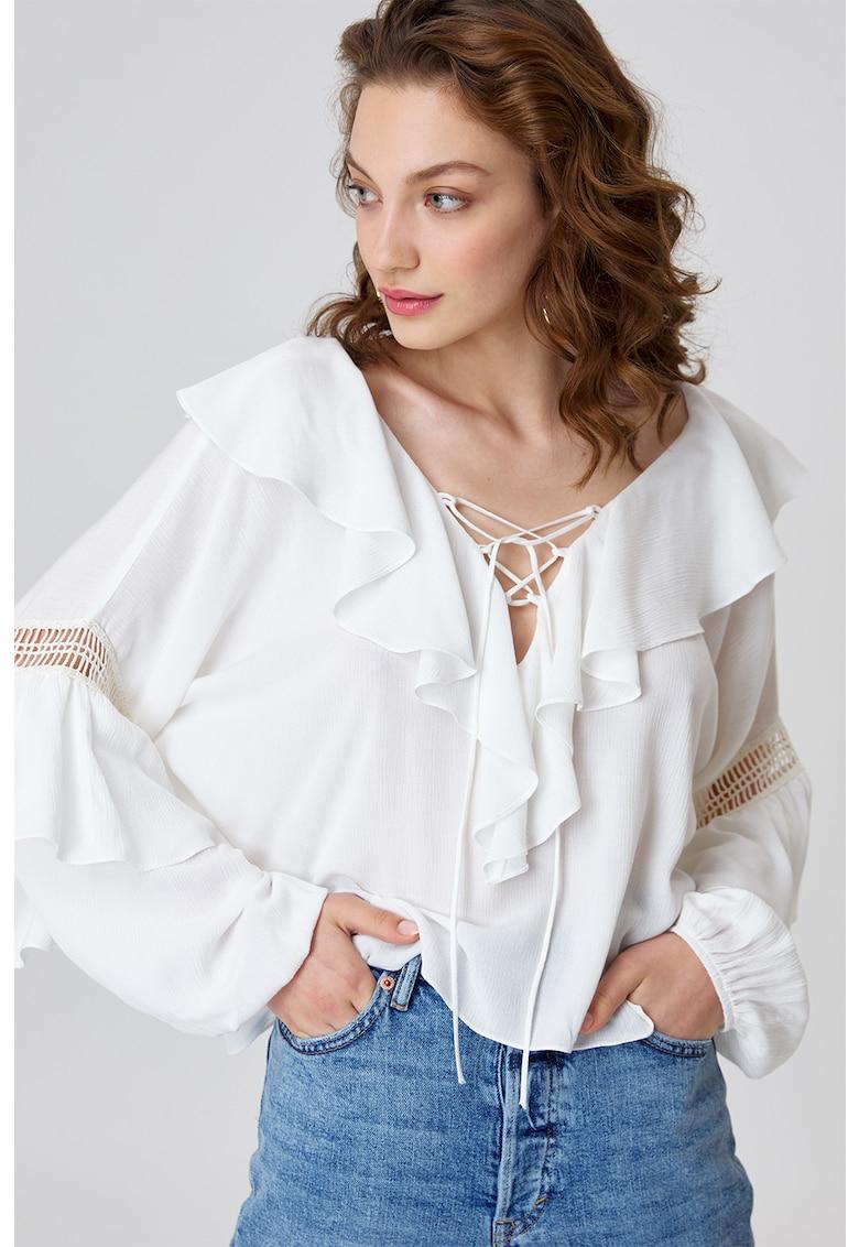 Bluza lejera cu bareta cu model incrucisat Valencia