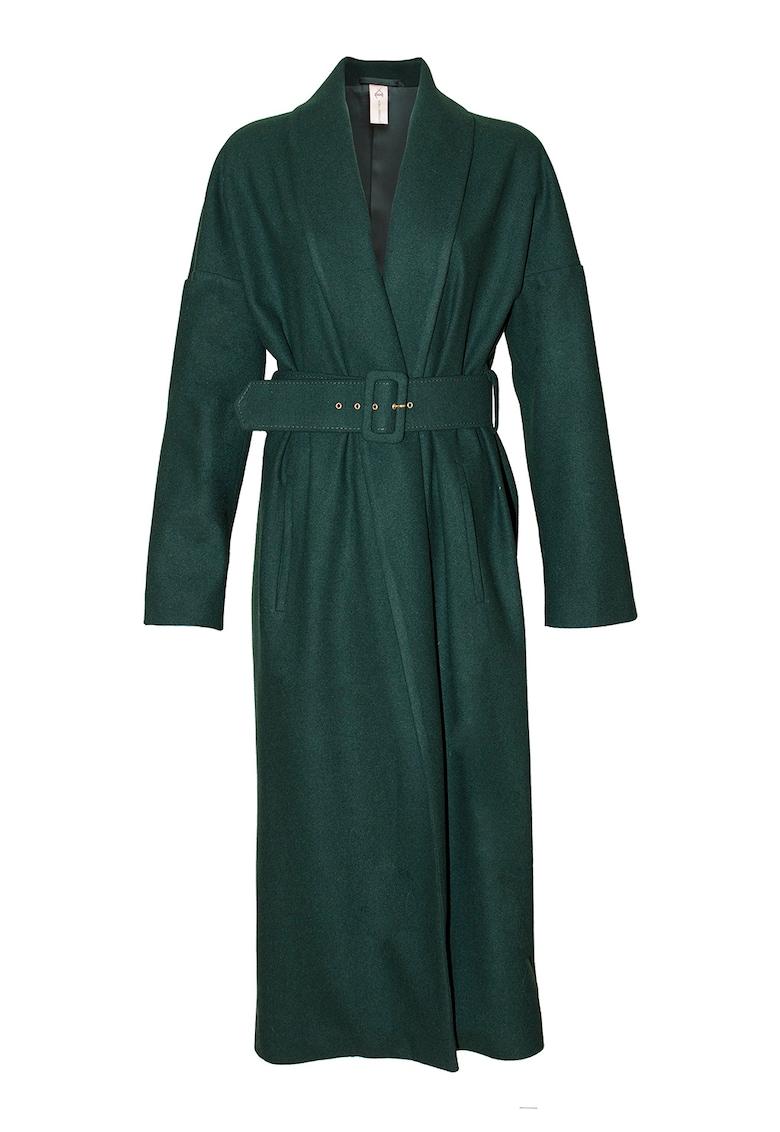 Palton maxi din lana - cu croiala petrecuta Kimono imagine