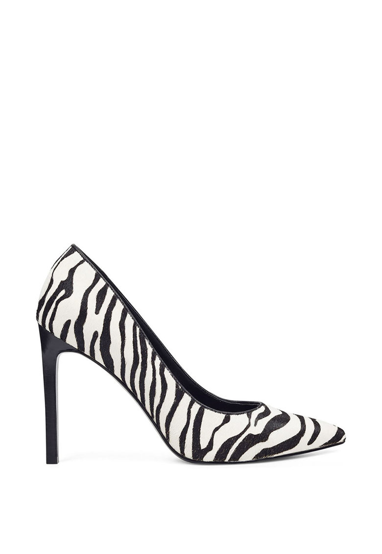 Pantofi stiletto din piele cu par scurt si cu varf ascutit Tatiana