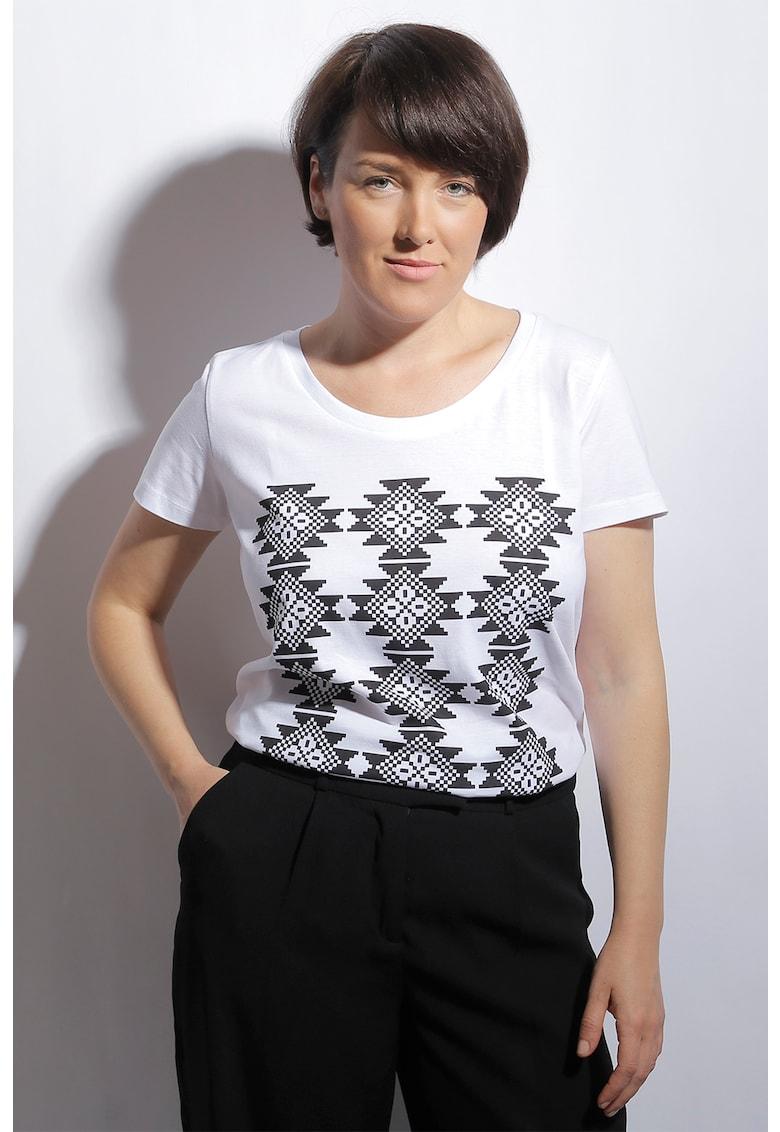 Tricou de bumbac organic cu imprimeu etnic Covoras