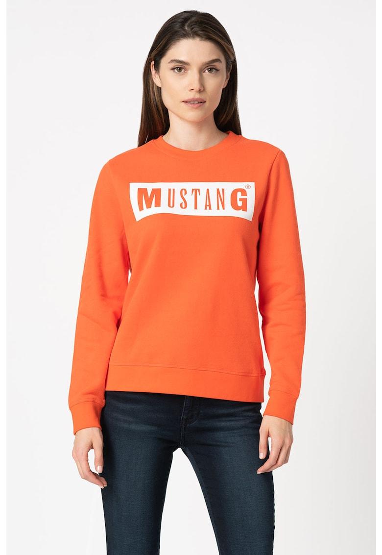 Bluza sport cu decolteu la baza gatului si logo Bea de la Mustang