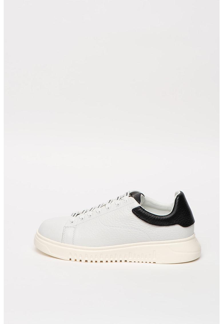 Pantofi sport de piele cu detalii contrastante