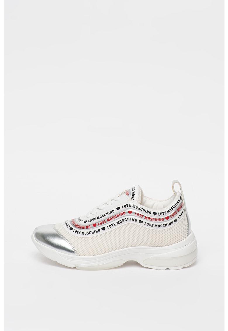 Pantofi sport de piele ecologica si material textil cu logo Love-Moschino imagine 2021