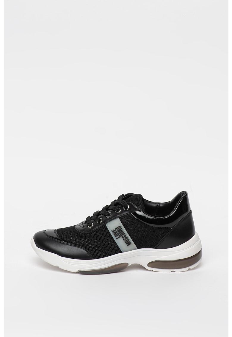 Pantofi sport de piele ecologica si piele cu insertie de plasa