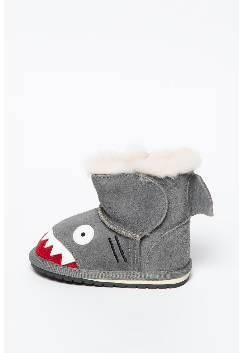 Ghete de iarna din piele intoarsa cu captuseala de lana si fara inchidere Shark Walker