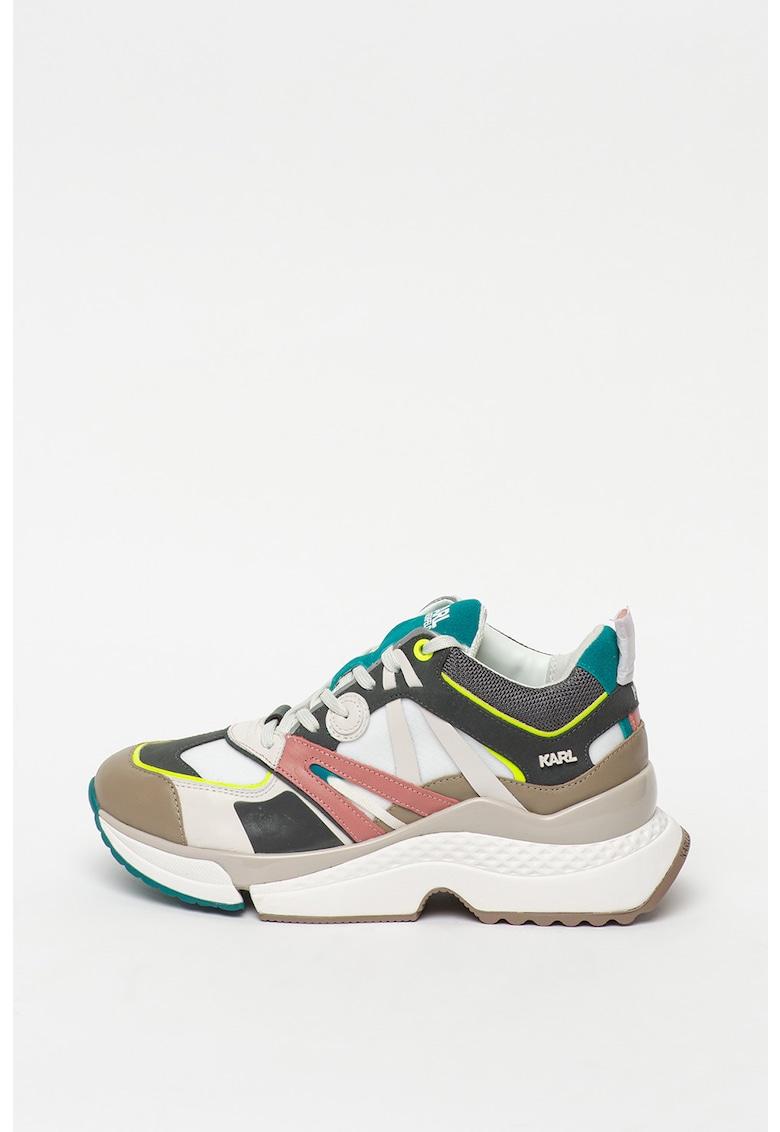 Pantofi sport wedge colorblock cu insertii de piele Aventur