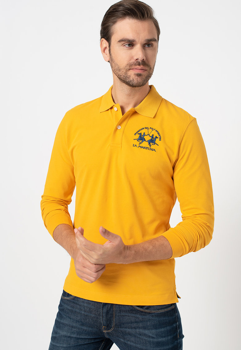 Bluza polo regular fit cu logo brodat imagine