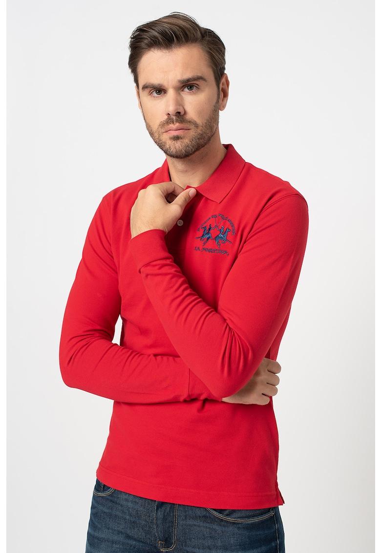 Bluza polo regular fit cu logo brodat imagine