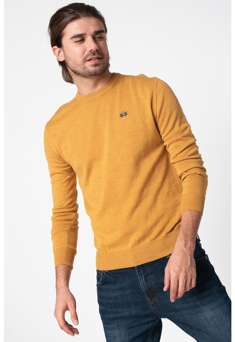 Pulover din amestec de lana cu material tricotat fin
