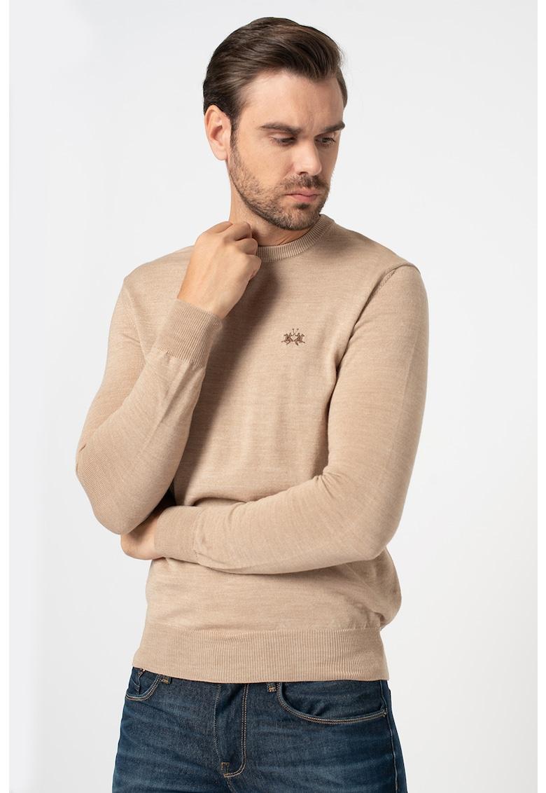 Pulover din amestec de lana cu logo brodat