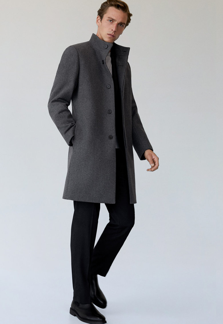 Palton tailored fit din amestec de lana cu guler inalt