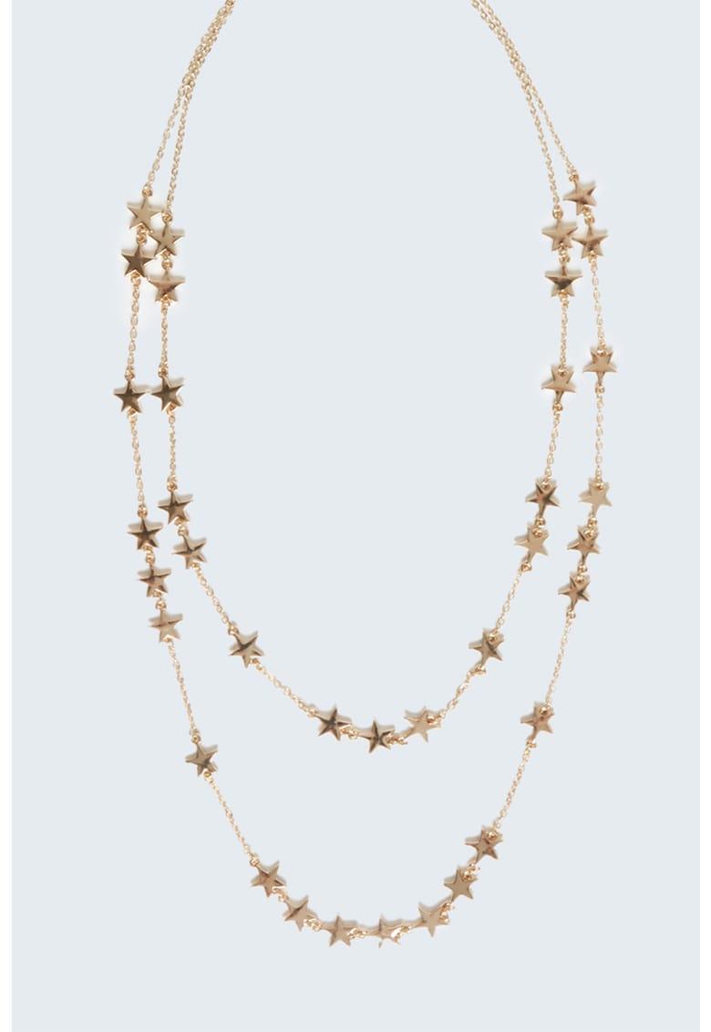 Colier cu doua siraguri si detalii in forma de stea
