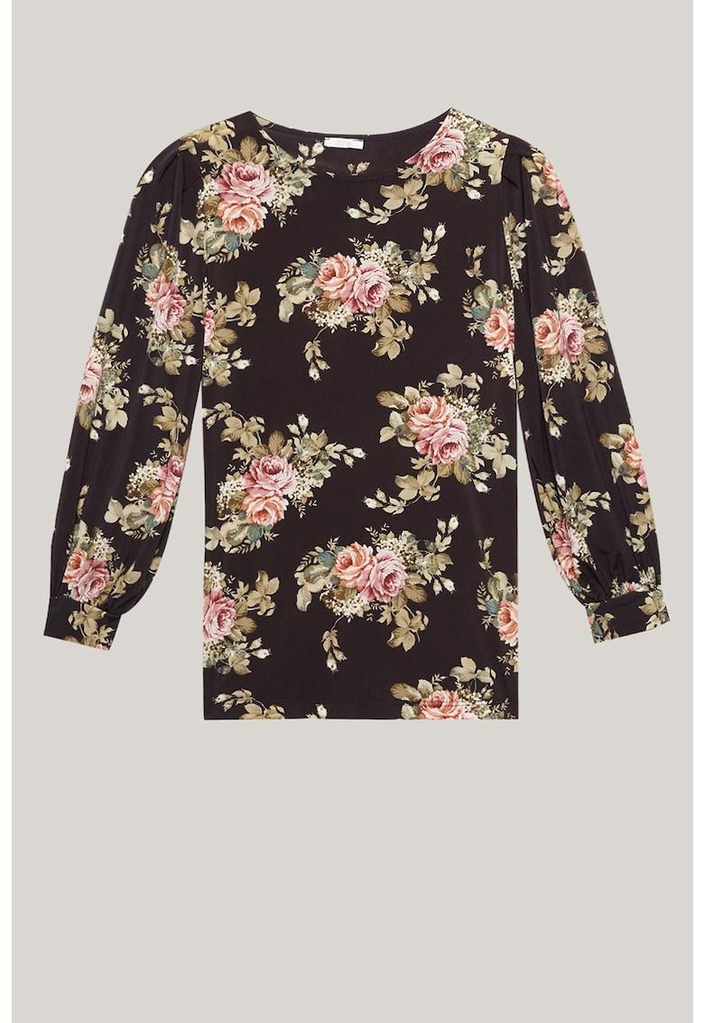 Bluza cu decolteu la baza gatului si model floral imagine
