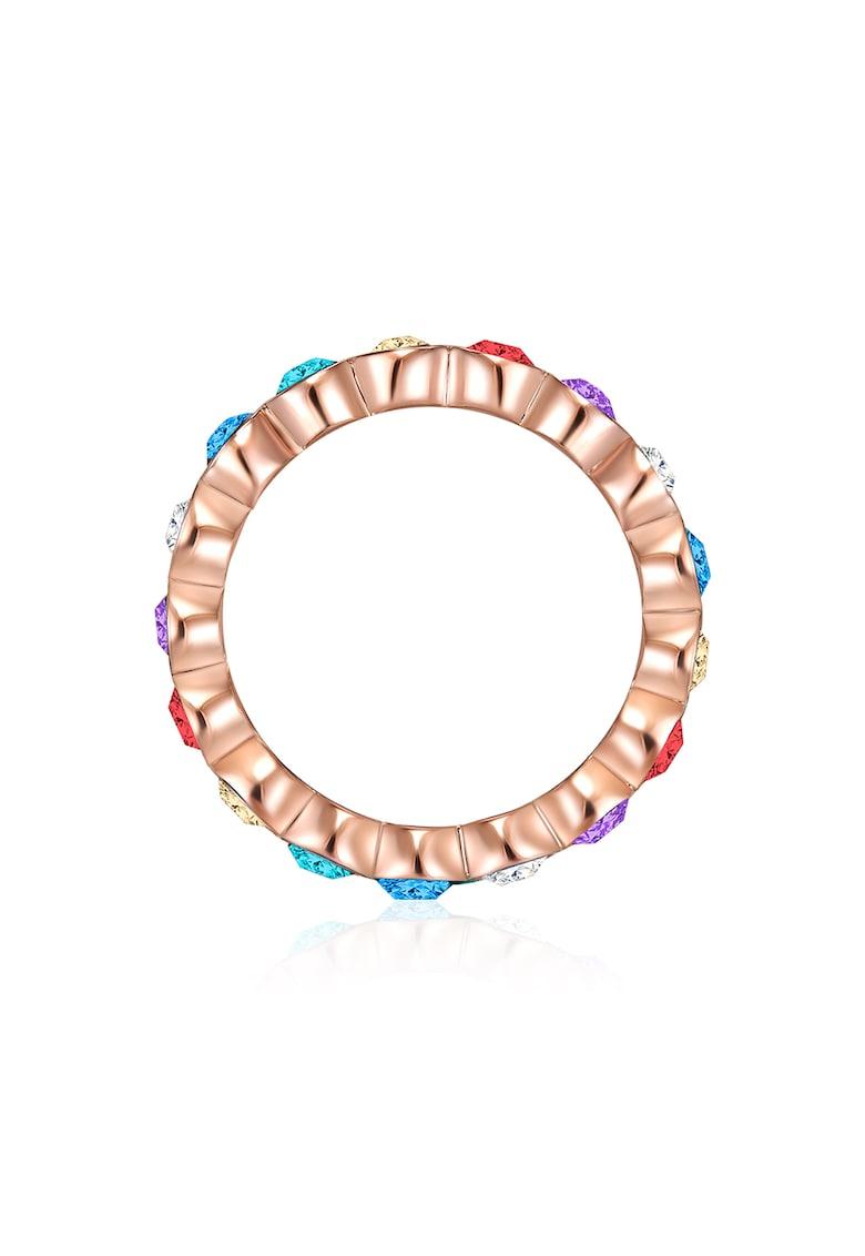 Inel placat aur rose si decorat cu cristale Swarovski imagine fashiondays.ro