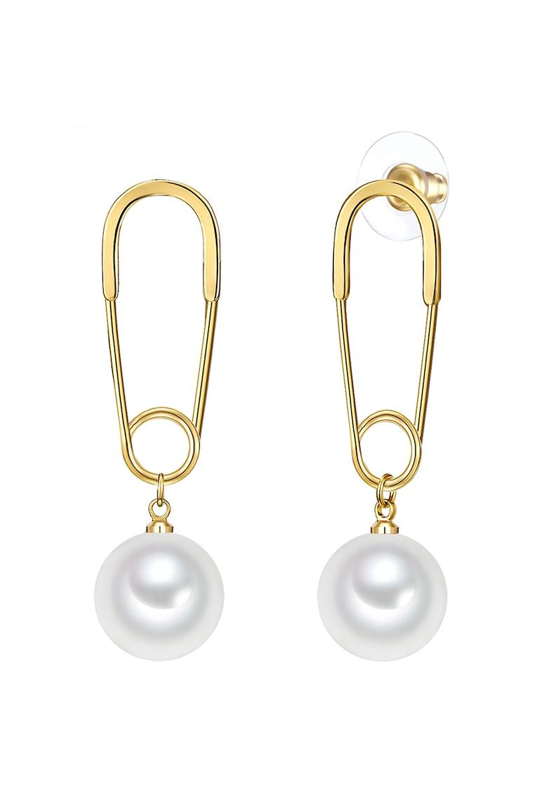 Cercei drop decorati cu perle sintetice imagine promotie